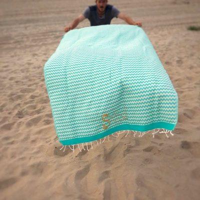foutas-turquoise-et-blanc-casse-coton-et-lurex-2mx1m-photo
